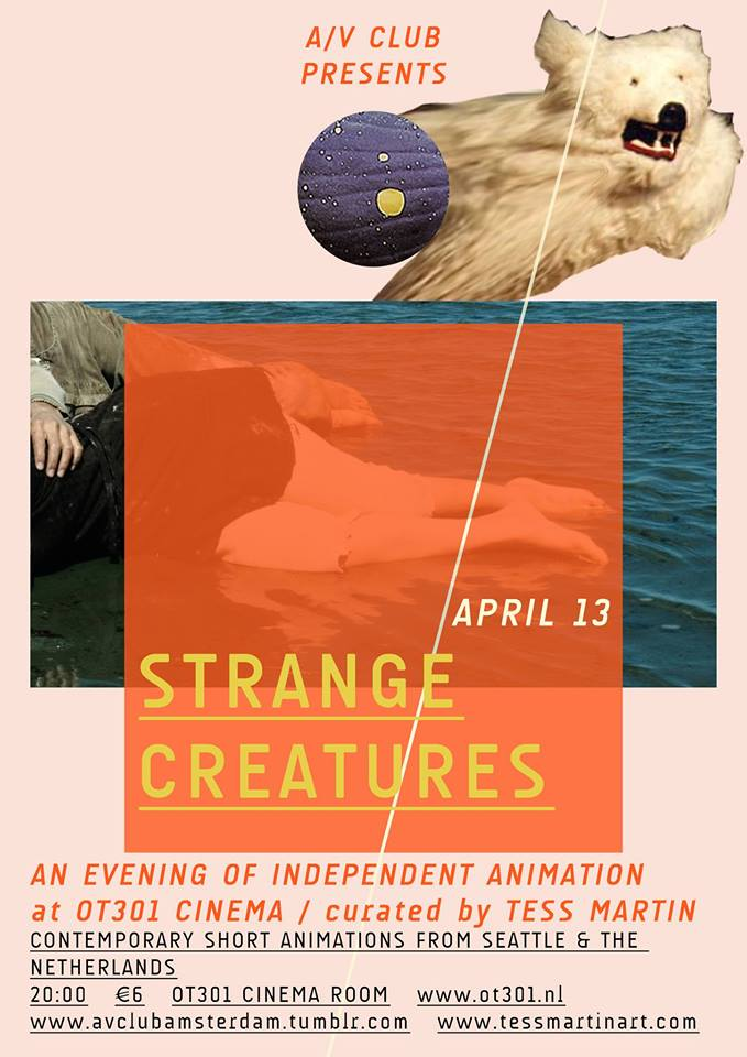 Poster for Amsterdam screening, sponsored by A/V Club, April 13, 2014  (Poster by Helena Sanders)