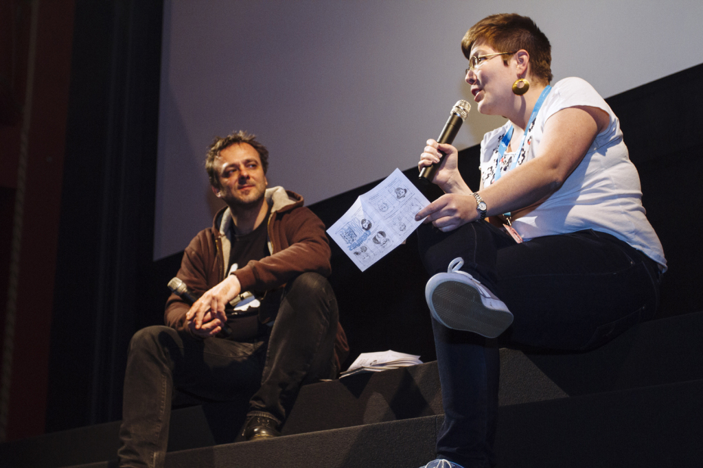 Tess Martin answering questions about Strange Creatures from Animateka festival director Igor Prassel. Photo by Andrej Firm