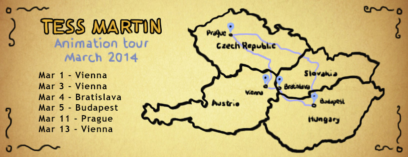 A map of locations on Tess Martin's March 2014 tour - she presented Strange Creatures in Vienna, Budapest and Prague.