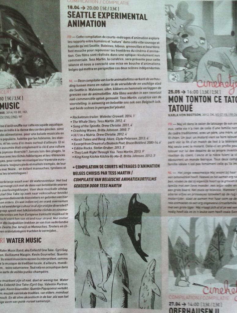 Strange Creatures information in the Cinema Nova program, Brussels, Belgium, April 2014.