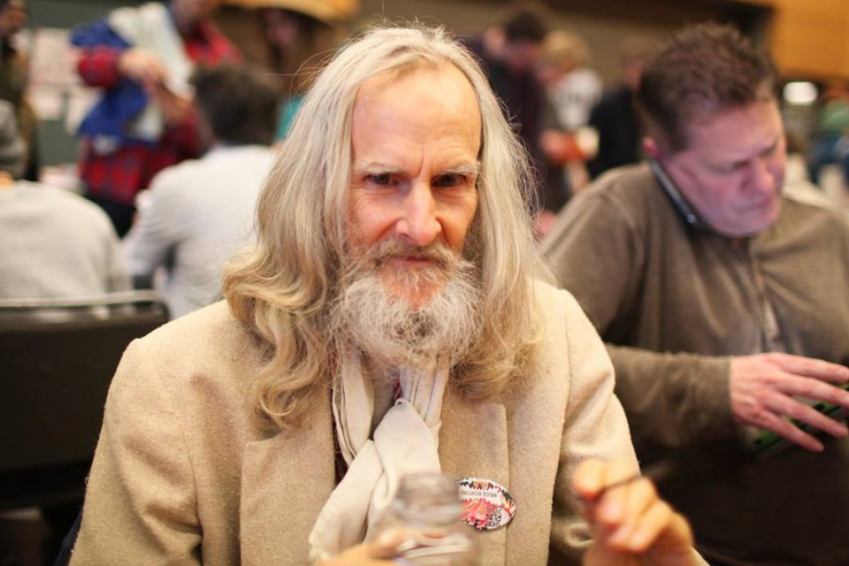 Seattle animator and graphic novelist Bruce Bickford at his table. Photo by Alex Stonehill/Short Run.